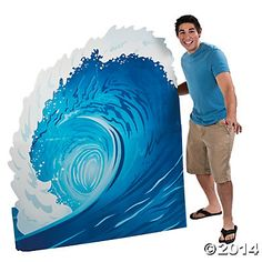 This Surf Wave Stand-Up is sure to make a big splash at your event! Place this cardboard stand-up in your do it yourself photo booth to make some waves, or stand it up anywhere to set a splashy scene Luau Party, Beach Party, Aloha Party, Ocean Party, Hawaian Party, Hawaiian Party Decorations, Beach Decorations, Surf Shack, Shark Party