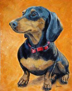 Items similar to Dachshund Dog Art, Sitting, on Orange, Dog Art print by Dottie Dracos on Etsy Basset Dachshund, Dachshund Art, Funny Dachshund, Animal Paintings, Animal Drawings, Animals Beautiful, Cute Animals, Weenie Dogs, Dog Art