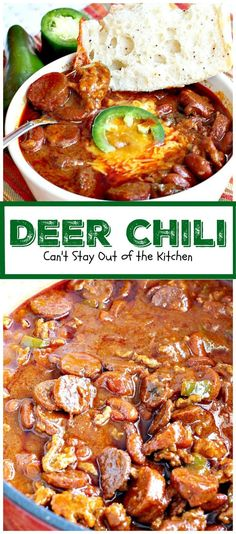 Deer Chili uses ground venison & pork and it's seasoned with a chili kit, diced tomatoes and green chiles, kidney beans & green bell pepper. Crock Pot Recipes, Deer Recipes, Chilli Recipes, Wild Game Recipes, Sausage Recipes, Cooking Recipes, Healthy Recipes, Cooking Chili, Deer Burger Recipes