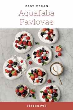 Find out how to make delicious Vegan Aquafaba Pavlovas with this vegetarian recipe from Veggie Magazine Healthy Cake Recipes, Vegan Dessert Recipes, Vegetarian Recipes, Vegan Treats, Healthy Treats, Vegan Meringue, Pavlova Recipe, Aquafaba, Tray Bakes