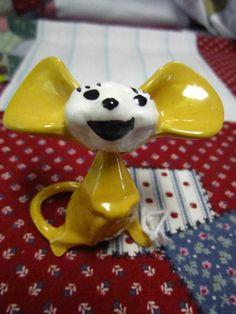Vintage Miniature Bobble Head Porcelain Mouse Smiling Yellow  Nodder Mouse
