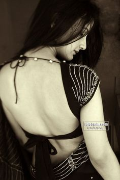 Gayatri Chowdary in a beautiful backless saree blouse