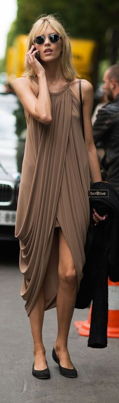 Anja Rubik during Paris Fashion Week - Love that flat shoes are becoming so popular and chic.
