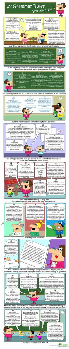 Grammar tips + advice: 37 Grammar Rules You Ain't Got. Grammar Tips, Grammar And Punctuation, Grammar Rules, Teaching Grammar, Grammar And Vocabulary, Grammar Lessons, Teaching Writing, English Vocabulary, English Grammar