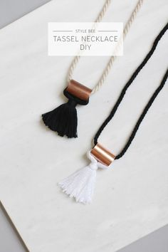 DIY Hardware Store Tassel Necklace Tutorial from Style Bee.All you need to make this DIY Hardware Store Tassel Necklace is some cord, thread and a hardware copper coupling. If you read my blog, then you know I really like hardware store jewelry - it's minimal, modern and geometric. For one of the best archives of DIY hardware store jewelry go here: truebluemeandyou.tumblr.com/tagged/hardware