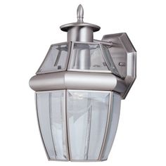 Sea Gull Lighting 8038965 SingleLight Lancaster Medium Outdoor Wall Lantern Clear Beveled Glass and Antique Brushed Nickel -- You can find out more details at the link of the image. (Note:Amazon affiliate link) #Lighting