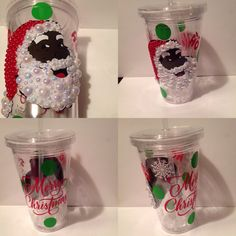 Awesome bling Santa tumbler cup 16oz double wall super cute merry Christmas