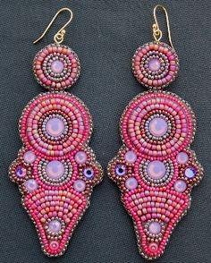 Pink Opal Crystal Earrings. Loving the shape of these earrings by Faria Siddiqui  #beadwork