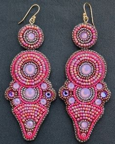 Pink Opal Crystal Earrings. Loving the shape of these earrings by Faria Siddiqui