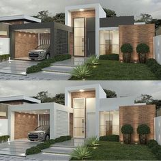 Pin by Snofrancois on House exterior in automatic alt text available. Modern House Facades, Modern Architecture House, Modern House Plans, Architecture Design, Bungalow House Design, House Front Design, Modern House Design, House Entrance, Facade House