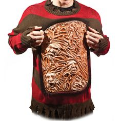 Whether you want to have a mind-blowing outfit for Halloween or just want to freak people out when you go to the store, the Nightmare on Elm Street Freddy Krueger Animated Chest of Souls Sweater is guaranteed to be an attention-getter.