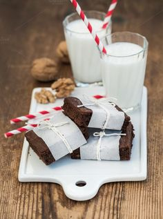 Chocolate brownie slices and milk by Foxys on Creative Market