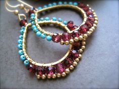❥Garnet and Turquoise Hoops