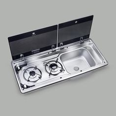 Space saving RV kitchen sinks and hobs from a world leading brand ✅ Sink and stove combos ✅ Easy to clean ✅ Compact ✅ Heat resistant glass lids ✅ For boat and RV Motorhome, Accessoires Camping Car, Ducato Camper, Water Plumbing, Camper Kitchen, Heat Resistant Glass, Camper Van Conversion Diy, Ignition System, Camper Interior
