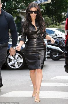 Leather ensemble: Kim headed for lunch at L'Avenue restaurant in the City of Love...