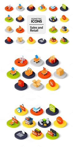 Isometric icons - Sales and Retail Cart Icon, Office Icon, Information Art, 3d Icons, App Icon Design, Isometric Design, Website Design Layout, Shop Icon, Utila