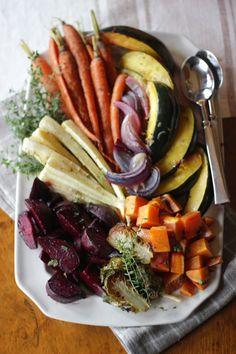 roasted root vegetable platter w/ lemon, shallot & thyme vinaigrette | jenny steffens hobick