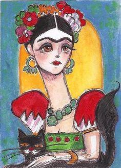 FRIDA KAHLO CAT Abstact Mexican Folk Art Portrait Original ACEO Painting HARING | eBay
