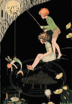 A Surprise Catch - reproduced from the original Margaret Clark illustration. Vintage Fairies, Vintage Art, Fairy Paintings, Fairy Gifts, Illustration Art, Illustrations, Mermaids And Mermen, Beautiful Fairies, Merfolk