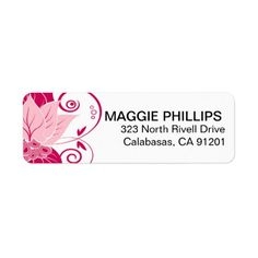 Abraxas Abstract Floral | pink magenta Return Address Label