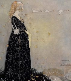 sinisetrunot: Swan Suit by Swedish illustrator John Bauer, from the book Svanhamnen by Helena Nyblom. A princess lost her swan suit - a cloak that transformed her into a swan. She is shown here gazing wistfully at her sisters in the sky. John Bauer, Lisbeth Zwerger, Style International, Art Nouveau, Fairytale Art, Fantasy, Children's Book Illustration, Food Illustrations, Golden Age