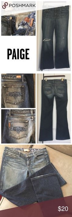 Paige Jeans Hollywood Hills fit W30 x L32 Used women's Paige Jeans Hollywood Hills fit size 30W x 33L. Blue floral embroidery on back pockets. Distressed ripped knee. Paige Jeans Jeans Boot Cut