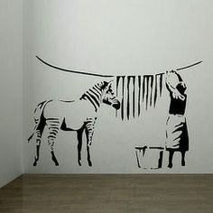 Online Shop Large banksy zebra stripes laundry room wall sticker art mural home decal|Aliexpress Mobile