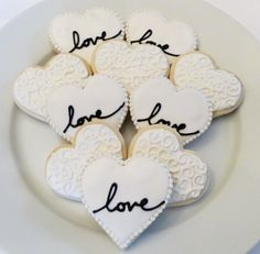 Wedding or Bridal Shower Decorated Heart Cookie Favors, 1 Dozen on Etsy, $41.30 CAD