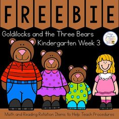 Fern's Freebie Friday - Goldilocks and the Three Bears for Kindergarten Week 3 Small Group Seatwork & Centers Freebie! Bears Preschool, Preschool Literacy, Teaching Kindergarten, Classroom Charts, Classroom Ideas, Student Binder Covers, Teaching Procedures, Math Blocks, Goldilocks And The Three Bears