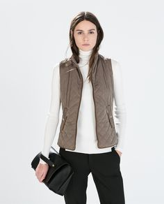 ZARA - WOMAN - QUILTED WAISTCOAT WITH PIPING