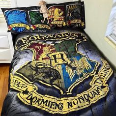Rest well, Potterheads // Harry Potter Hogwarts House Crests Pillowcases