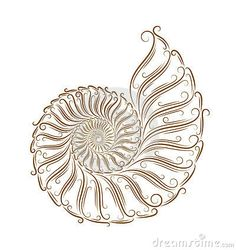 Sketch of seashells golden brush