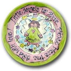 Hand Painted Little Angel Plate, Painted Glass, Dishes & Ceramic Crafts
