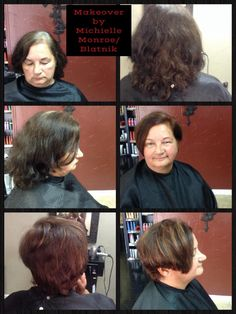 Warm auburn makeover, with hi-lights and asymmetrical haircut