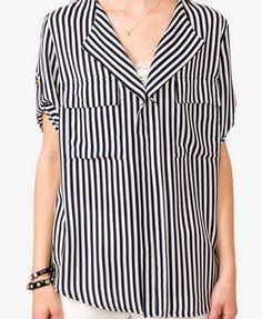 Striped Split Neckline Top