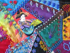 """Crazy Stitcher: """"Cat's and Geisha"""" Crazy Quilt Moving To California, Crazy Quilting, Some Pictures, Geisha, Textile Art, Textiles, Quilts, Embroidery, Cats"""