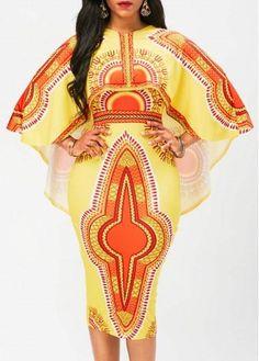 #AdoreWe rotita.com - unsigned - Printed Cape Sleeve Yellow Sheath Dress - AdoreWe.com