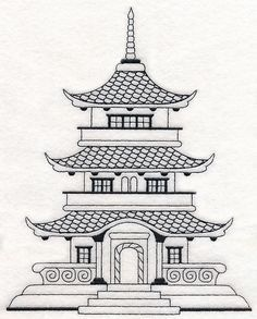 Asian House Temple Machine Embroidery Designs At Library