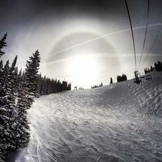 Another beautiful day on the mountain, check out that sundog. Via Aspen/Snowmass