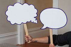 Make your own photo booth speech bubbles - we could use an erasable white board to make em, have them write their wedding advice and take a Polaroid shot. After, put all the pictures in a scrapbook.
