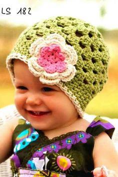 Horgolt tavaszi  baba sapka , Baba-mama-gyerek, Ruha, divat, cipő, Gyerekruha, Baba (0-1év), Meska