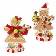 "RAZ Gingerbread Girl on Peppermint Ornament Set of 2  2 Assorted Made of Claydough Measures 4"" X 2.75"" X 2  RAZ Christmas Moose 2013 Collection Arriving Summer 2013"