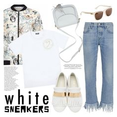 """Bright White Sneakers"" by wigicollection ❤ liked on Polyvore featuring Gyunel, 3x1, Giuseppe Zanotti, contestentry, whitesneakers, wigicollection, wigier and wigimoda"