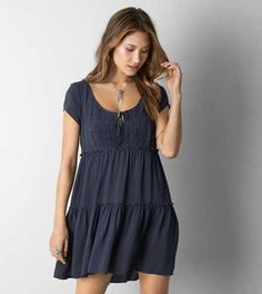 AEO Tiered Babydoll Dress. A boho-inspired dress made for warm days. #AEOSTYLE