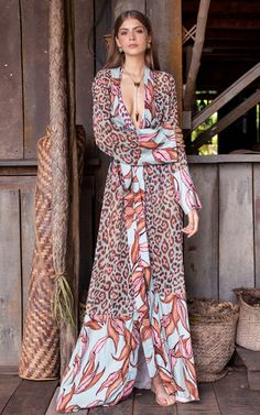 Casual Deep V Lace Leopard Print Chiffon Dress Fashion Mode, Boho Fashion, Fashion Dresses, Womens Fashion, Elegant Dresses, Nice Dresses, Summer Dresses, Beautiful Dresses, Coats For Women