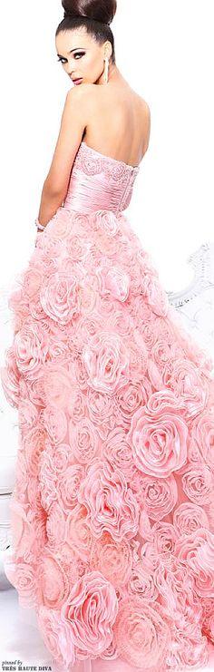 Stunning pink rosettes dress by Sherri Hill.