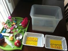 Good science activities for teaching opposities-- touch: soft/hard, water: floats/sinks, heavy/light