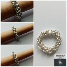 Sterling Silver 925 Chainmaille Ring Byzantine #ByzantineMaille #HandmadeJewelry #GiftForHer #HandmadeGift #ByzantinePattern #HandmadeRing #VikingChainmail #ByzantineRing #SilverRing #MadeInNorway Handmade Jewelry, Unique Jewelry, Handmade Gifts, Chainmaille, Byzantine, Jewelry Making, Sterling Silver, Bracelets, Rings