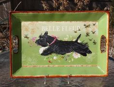 Scottish Terrier Spring Garden Metal Serving Tray HP Agility Scottie Dog   eBay