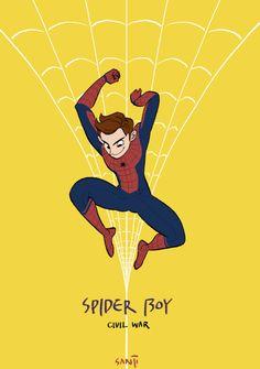 "Civil War Spider-Man by Sanji Seo. ""My civil war reveiw : Spider boy in civil war is too much cute. End.""- Sanji Seo. Spiderman"